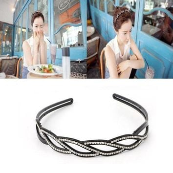 ESB1ON Trendy Women Wave-Shaped Hair Band Rhinestone Toothed Hair Hoop Headbands Jewelry