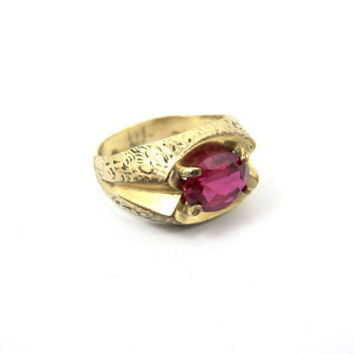 Men's Vargas Ring, 10K Yellow Gold Filled Red Ruby Spinel, July Birthstone, Father Of The Bride Jewelry