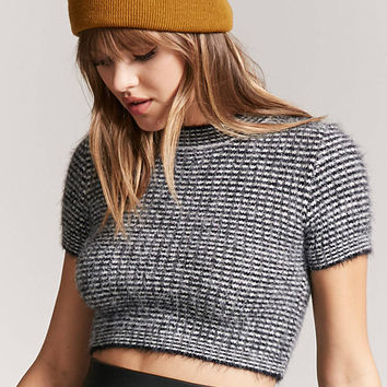 Stripe Fuzzy Knit Crop Top