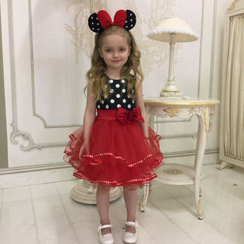 Minnie Mouse Birthday Party Dress, Chiffon Birthday Party Dress, Lace Dress for Girl, Red Minni dress, Polka Dot Dress, Birthday Girl Outfit