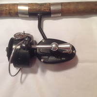 Made In France 1950's Garcia Mitchell 300 Spinning Fishing Reel, Montague Colorado Holloglass Pole, Garcia Mitchell 300, Near Mint.