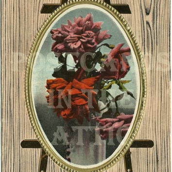 Antique Postcard - Red and Pink Roses in a Embossed Frame on an Easel - Ephemera - Early 1900s - 1916 - Greeting Card