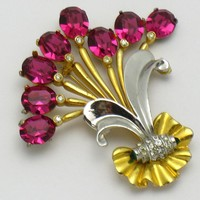 1940s Floral Flower Open Back Foiled Rhinestone Brooch 30 Grams