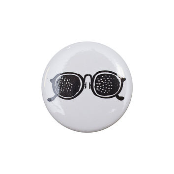 Glasses White Button