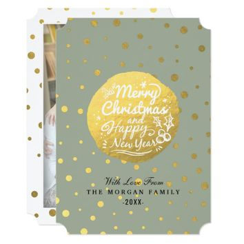 Gray Gold Dots Christmas & New Year Script Photo Card