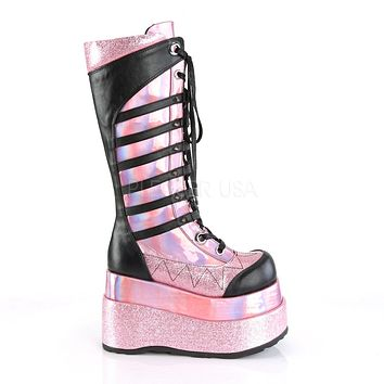 "Bear Pink Hologram 4.5"" Goth Punk Rock Platform Lace Up Knee Boot"