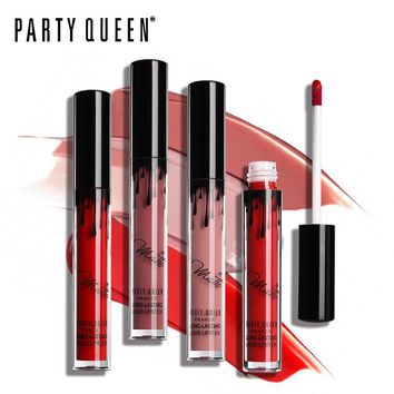 Party Queen Super Lasting Ultra Matte Lipstick Liquid Waterproof Smooth Moist Lip Gloss Tattoo Make Up Sexy Rose Red Maquiallage