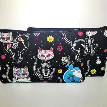Day of Dead Cat Cosmetic Bag | Zipper Pouch | Toiletry Bag | Pencil Case | Gifts for Her | Makeup Bag