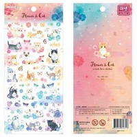 flower versus Cat Transparent Stickers /scrapbook diary deco stickers/Decoration label/School stationery office supplies WJ0432
