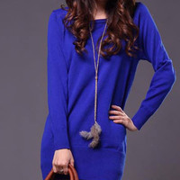Long Sleeve Pullover Knitted Dress