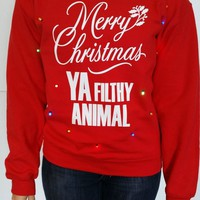Light Up UGLY CHRISTMAS SWEATER!! - Merry Christmas Ya Filthy Animal