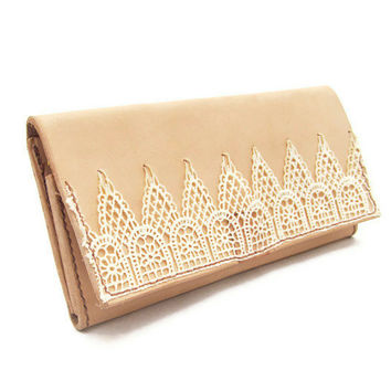 Lace and Leather Womens Wallet - Handcrafted in USA