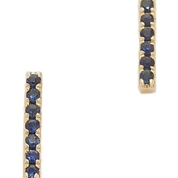 EF Collection Stone Bar Stud Earrings