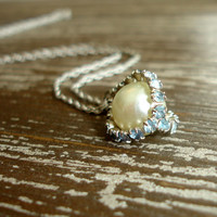 Sterling Vintage Rhinestone Caged Pearl Pendant Necklace, Blue Rhinestones White Glass Pearl, Silver Chain, Bridal Jewelry, Something Blue