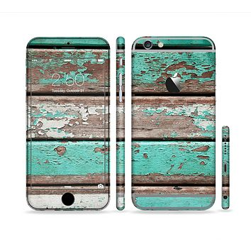 The Chipped Teal Paint On Wood Sectioned Skin Series for the Apple iPhone 6s