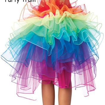 Sexy Woman skirts Adult Tulle Skirt Rainbow Tail Tutu Skirt Girls Cake Party Dance Ballet Skirt Women Gauze Custume TUTU