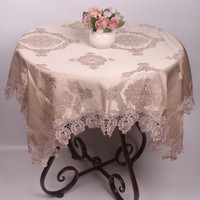 Europe Style Wedding Table Covers for Round Square Rectangular Tables / 3D Embroidery Light Blue Brown Table Cloth