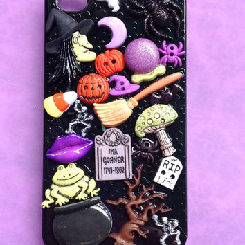 SALE Halloween iPhone 4 or 5 case Decoden, Spooky witch, Halloween creepy girl,