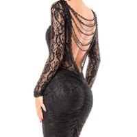 Long Sleeve Lace Chained Backless Bodycon Mid Dress