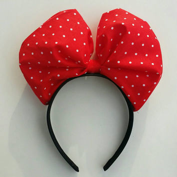 Minnie mouse ears in Christmas polka dot pattern