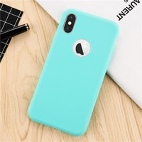 Candy color  Ultrathin TPU Soft Silicone Back cover For iPhone X  Newest Phone cases with Logo Window coque for Apple iPhoneX