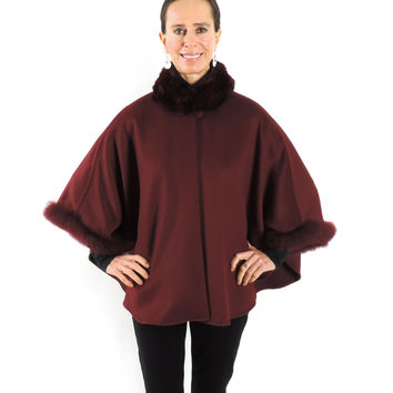 Baby Alpaca Cape with Fur Collar and Sleeves - Burgundy