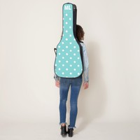 Teal Sky Polka Dot Monogram Initials Guitar Case