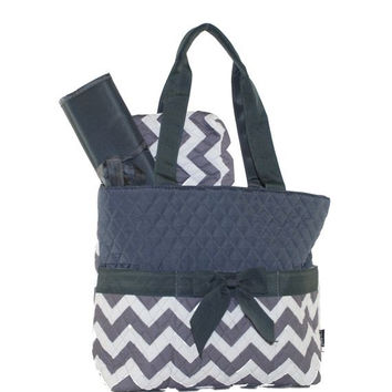Chevron Quilted Gray Diaper Baby Bag-3pc. set! with Free Monogramming