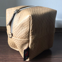 Beautiful Cube Pouch or Purse.Perfect make up bag or mini bag.Lovely lambskin leather with cotton lining and zip pull,this is a luxury pouch