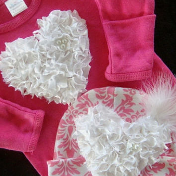 NEWBORN girl baby outfit layette gown bodysuit  take home outfit HOT pink and  WHITE damask matching beanie, cap, hat