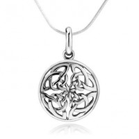 925 Sterling Silver Celtic Knot Round Pendant Necklace, 18 inch Snake Chain