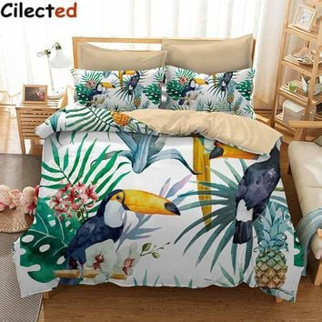 Cilected 3 Pcs Toucan And Pineapple Duvet Cover Set With Pillowcase Tropical Plant Bedding Set Soft Flower Quilt Cover Set