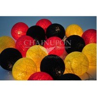 Red Yellow Black Cotton Balls String Lights
