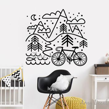 Let's Go Wild Bicycle and Mountains Wall Decal, Christmas Gift for Cyclist Boys Girls Bedroom Decor Woodland Vinyl Stickers A965