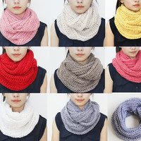 Knitting scarf, infinity scarf cowl loop hood, winter warm scarves, unisex scarves, teacher gift, back to school [buy 4 get 1]