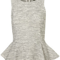 Sleeveless Boucle Peplum Top - Tops  - Apparel