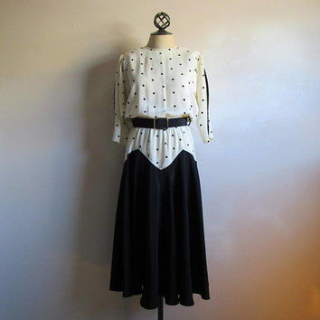 80s Polka Dot Dress Vintage Black Ivory White Drop Waist Zigzag 1980s Town and Country Day Dresses 9