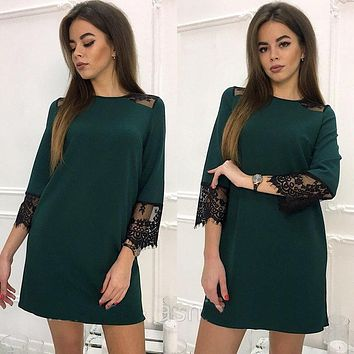 2018 Spring Summer Lace Stitching Casual Loose Straight Dress Women 3/4 Sleeve Fashion Dress Mini Party Club Dress