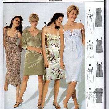 Burda 8348 Sewing Pattern Cocktail Party Dress Camisole Style Sleeveless Scoop Neck Fitted Bodice Beginner Level Uncut FF Sizes 8 to 20