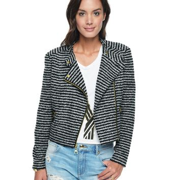 Angle/Black Boucle Stripe Stripe Boucle Jacket by Juicy Couture,