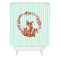 Monika Strigel Fox And Flowers And Blue Stripes Shower Curtain