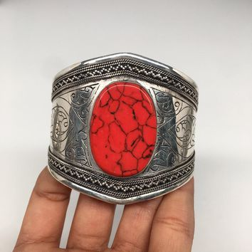 Afghan Turkmen Tribal Kuchi Oval Shape Red Coral Inlay ATS Cuff Bracelet BR56