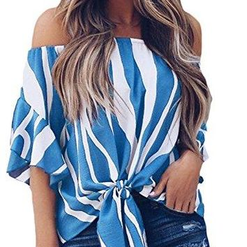 Charlotte Womens Striped Off Shoulder Front Tie Knot Blouse Top T Shirts