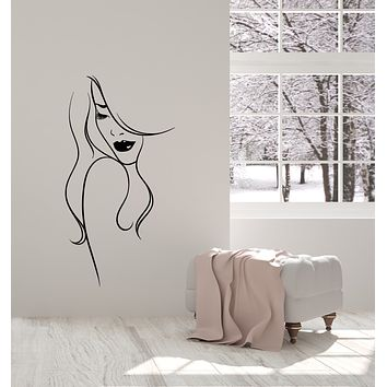 Vinyl Wall Decal Abstract Lady Beautiful Girl Face Makeup Stickers (3716ig)
