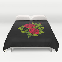 Painted Red Roses Duvet Cover by Scorpion