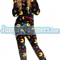 Pac Man Hooded Adult Pajamas - Hooded Footed Pajamas - Pajamas Footie PJs Onesuits One Piece Adult Pajamas - JumpinJammerz.com