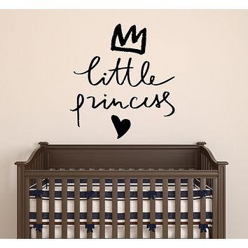 Vinyl Wall Decal Baby Room Little Princess Letters Love Crown Stickers Mural 22.5 in x 20 in gz181