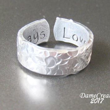Personalized Ring - Hidden Message Ring - Hammered Ring - Textured Ring - Secret Message Ring - Stamped Ring - Customize