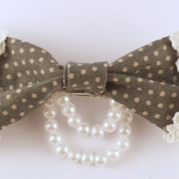 Polka Dot and Lace Hair Bow