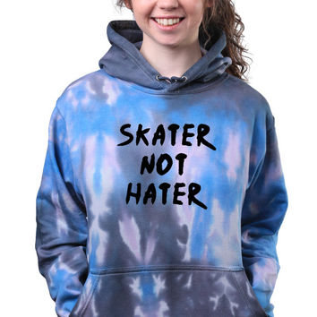 Skater Not Hater Saying Skating Grunge Acid Wash Tie Dye Hoodie Sweatshirt Jumper